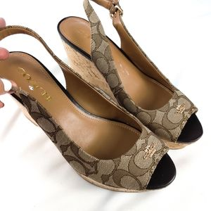 NWOB Coach Ferry Logo Peep Toe Wedge Sandals